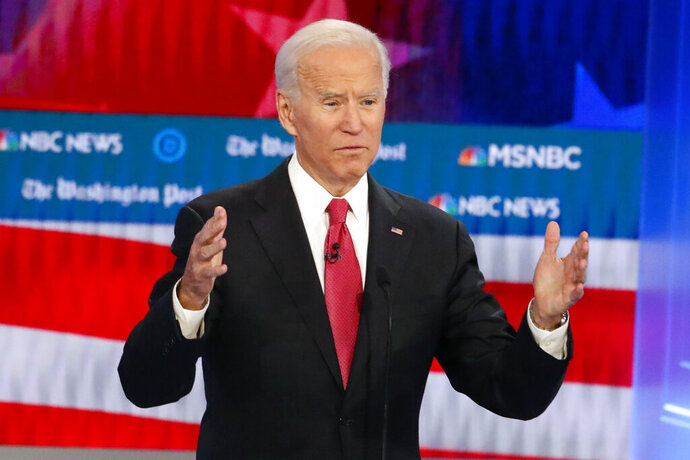 Democratic presidential candidate former Vice President Joe Biden speaks during a Democratic presidential primary debate, Wednesday, Nov. 20, 2019, in Atlanta. (AP Photo/John Bazemore)