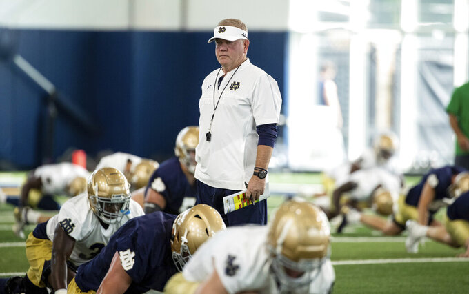 Notre Dame head coach Brian Kelly during Notre Dame Fall Camp on Saturday, Aug. 7, 2021, at Irish Athletics Center in South Bend, Ind. (John Mersits/South Bend Tribune via AP)