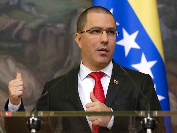 Venezuelan Foreign Minister Jorge Arreaza gestures while speaking during a joint news conference with Russian Foreign Minister Sergey Lavrov followed their talks in Moscow, Russia, Sunday, May 5, 2019. Lavrov meets with his Venezuelan counterpart on Sunday, a day before Lavrov is to meet the US secretary of state amid growing tensions over the Venezuela crisis. (AP Photo/Alexander Zemlianichenko)