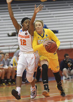 Syracuse's Kiara Lewis (12) defends against South Dakota State's Madison Guebert during a second-round game in the NCAA women's college basketball tournament in Syracuse, N.Y., Monday, March 25, 2019. (AP Photo/Heather Ainsworth)