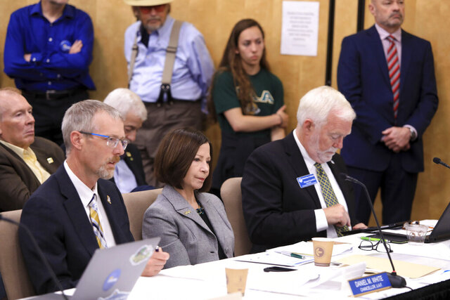FILE - In this Tuesday, July 30, 2019 file photo, From left, University of Alaska Fairbanks Chancellor Daniel White, UA Anchorage Chancellor Cathy Sandeen and UA Southeast Chancellor Rick Caulfield speak at a UA Board of Regents meeting in Anchorage, Alaska. Cathy Sandeen, the chancellor of the University of Alaska Anchorage has announced her intention to take a new position as the president of a California university, Thursday, Oct. 29, 2020.(AP Photo/Dan Joling, File)