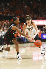 Stanford's Kiana Williams (23) swats the ball away from Oregon State's Kat Tudor (22) during the first half of an NCAA college basketball game against Oregon State/Stanford in Corvallis, Ore., Sunday, Jan. 19, 2020. (AP Photo/Amanda Loman)