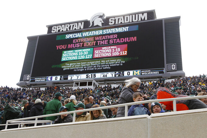 The Michigan-Michigan State NCAA college football game is suspended due to weather during the first quarter, Saturday, Oct. 20, 2018, in East Lansing, Mich. (AP Photo/Al Goldis)