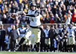 Vanderbilt quarterback Kyle Shurmur throws a touchdown pass to running back Ke'Shawn Vaughn during the first half of an NCAA college football game against Missouri, Saturday, Nov. 10, 2018, in Columbia, Mo. (AP Photo/Jeff Roberson)