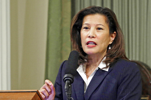 FILE - In this March 23, 2015, file photo, California Supreme Court Chief Justice Tani G. Cantil-Sakauye delivers her State of the Judiciary address at the Capitol in Sacramento, Calif. The California Supreme Court ruled Monday, Dec. 28, 2020, that inmates convicted of what the state defines as nonviolent sex crimes cannot be denied a chance at earlier release under a ballot measure approved by nearly two-thirds of voters four years ago. (AP Photo/Rich Pedroncelli, File)
