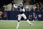 Dallas Cowboys quarterback Dak Prescott throws a pass during the first half of the team's NFL football game against the Minnesota Vikings in Arlington, Texas, Sunday, Nov. 10, 2019. (AP Photo/Ron Jenkins)