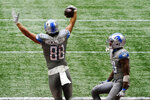 Detroit Lions tight end T.J. Hockenson (88) celebrates his touchdown against the Atlanta Falcons during the second half of an NFL football game, Sunday, Oct. 25, 2020, in Atlanta. The Detroit Lions won 23-22. (AP Photo/Brynn Anderson)