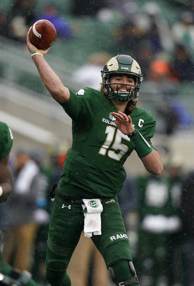 Colorado State quarterback Collin Hill throws against Utah State during the first half of an NCAA football game Saturday, Nov. 17, 2018, in Fort Collins, Colo. (AP Photo/Jack Dempsey)
