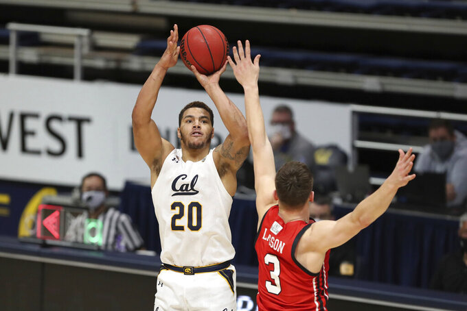 California forward Matt Bradley (20) shoots against Utah guard Pelle Larsson during the second half of an NCAA college basketball game in Berkeley, Calif., Thursday, Feb. 11, 2021. (AP Photo/Jed Jacobsohn)