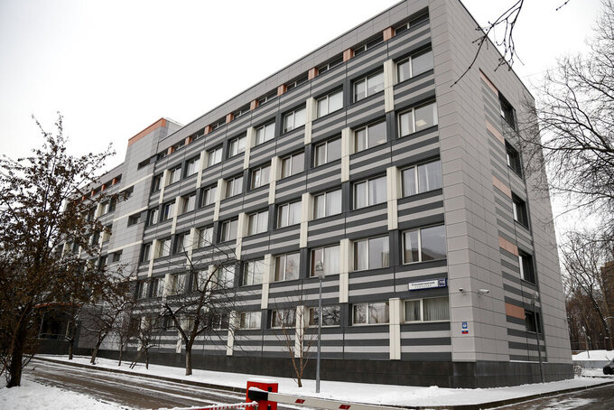 FILE - This Wednesday, Nov. 28, 2018 file photo, shows a view of the building of Russia's national drug-testing laboratory in Moscow, Russia.  Russia's status as an Olympic team and reputation as a serial cheater in international sports goes on trial next week as the Court of Arbitration for Sport judges will start on Monday Nov. 2, 2020, hearing evidence about a manipulated database from the Moscow testing laboratory.(AP Photo/Alexander Zemlianichenko, File)