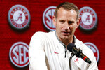 FILE - In this Oct. 16, 2019, file photo, Alabama head coach Nate Oats speaks during the Southeastern Conference NCAA college basketball media day in Birmingham, Ala. Oats, whose Crimson Tide plays No. 6 North Carolina in the Battle 4 Atlantis on Wednesday, Nov. 26, 2019, said he hopes the tournament could help make fans aware of what's going on in the Bahamas as parts of the country recover from damage following Hurricane Dorian earlier this year. (AP Photo/Butch Dill, File)