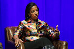 FILE - In this Feb. 19, 2020, file photo, former national security adviser Susan Rice takes part in a discussion on global leadership at Vanderbilt University in Nashville, Tenn. Democratic presidential candidate former Vice President Joe Biden's search for a running mate is entering a second round of vetting for a dwindling list of potential vice presidential nominees, with several black women in strong contention. (AP Photo/Mark Humphrey, File)