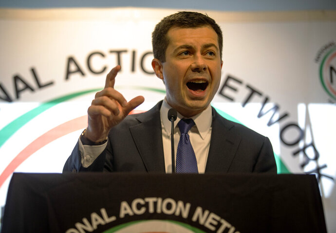 Pete Buttigieg speaks to an audience at a breakfast event on Thursday, Nov. 21, 2019, in Atlanta. Buttigieg, along with Cory Booker, Amy Klobuchar, Andrew Yang and Tom Steyer, all presidential hopefuls, spoke at the event hosted by the Al Sharpton's National Action Network. (AP Photo/ Ron Harris)
