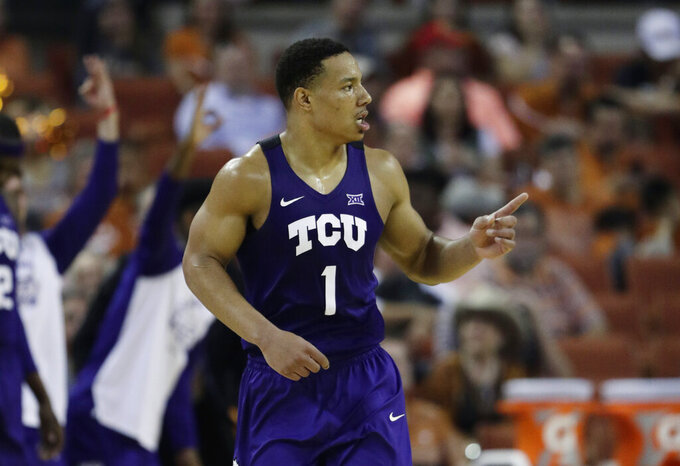 TCU guard Desmond Bane (1) runs up court after scoring against Texas during the second half of an NCAA college basketball game, Saturday, March 9, 2019, in Austin, Texas. (AP Photo/Eric Gay)