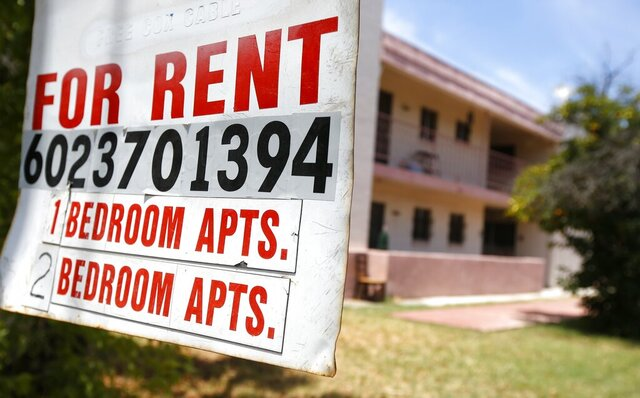 A rental sign is posted in front of an apartment complex Tuesday, July 14, 2020, in Phoenix. Housing advocacy groups have joined lawmakers lobbying Arizona Gov. Doug Ducey to extend his coronavirus-era moratorium on evictions when it expires, when the 120-day order ending July 22 was supposed to ensure people would not lose their homes if they fell ill to COVID-19 or lost jobs in the pandemic's economic fallout. (AP Photo/Ross D. Franklin)