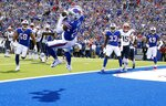 Buffalo Bills safety Micah Hyde intercepts a pass in the end zone, thrown by New England Patriots quarterback Tom Brady, in the first half of an NFL football game, Sunday, Sept. 29, 2019, in Orchard Park, N.Y. (AP Photo/Ron Schwane)