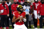 Maryland quarterback Taulia Tagovailoa looks to pass against Minnesota during the first half of an NCAA college football game, Friday, Oct. 30, 2020, in College Park, Md. (AP Photo/Julio Cortez)
