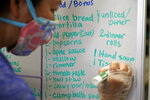 Cheryl Mah lists available items at Porchlight Community Service food pantry Thursday, May 6, 2021, in San Diego. For millions of Americans with food allergies or intolerances, the pandemic has created a particular crisis: Most food banks and government programs offer limited options. (AP Photo/Gregory Bull)