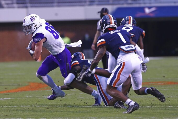 Abilene Christian tight end Remington Lutz (86) runs the ball during an NCAA college football game against Virginia, Saturday, Nov. 21, 2020, in Charlottesville, Va. (Erin Edgerton/The Daily Progress via AP)