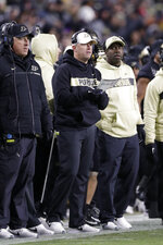 Purdue head coach Jeff Brohm watches from the sideline during the second half of an NCAA college football game against Ohio State in West Lafayette, Ind., Saturday, Oct. 20, 2018. Purdue defeated Ohio State 49-20. (AP Photo/Michael Conroy)