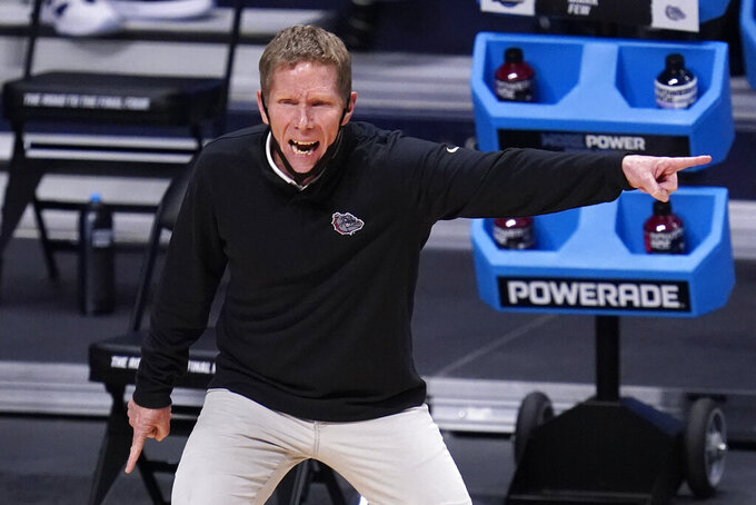 Gonzaga head coach Mark Few gestures against Creighton in the first half of a Sweet 16 game in the NCAA men's college basketball tournament at Hinkle Fieldhouse in Indianapolis, Sunday, March 28, 2021. (AP Photo/Michael Conroy)