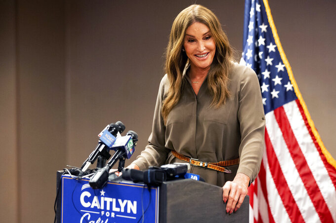 FILE — In this July 9, 2021, file photo Caitlyn Jenner, a Republican candidate for California governor, speaks during a news conference in Sacramento, Calif. Jenner is among the more than three dozen people who filed the required paperwork to run in the Sept. 14 recall election that could remove Gov. Gavin Newsom from office. (AP Photo/Noah Berger, File)