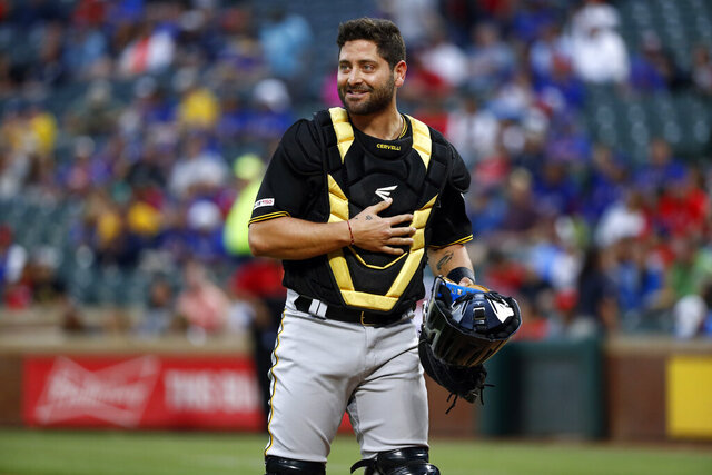 FILE - In this Tuesday, April 30, 2019 file photo, Pittsburgh Pirates catcher Francisco Cervelli (29) looks to third in the first inning of a baseball game against the Texas Rangers in Arlington, Texas. Catcher Francisco Cervelli has finalized a $2 million, one-year contract with the Miami Marlins to provide depth behind Jorge Alfaro. Cervelli played in 48 games last year for the Pirates and Braves, Thursday, Jan. 9, 2020. (AP Photo/Tony Gutierrez, File)