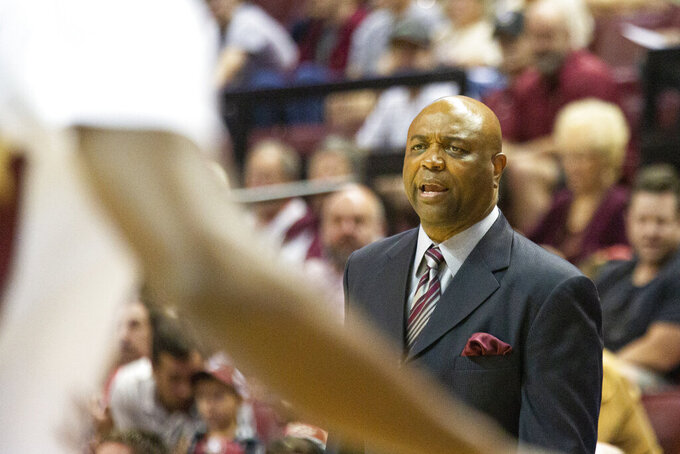 Florida State head coach Leonard Hamilton watches his team play in the first half of an NCAA college basketball game against North Alabama in Tallahassee, Fla., Saturday, Dec. 28, 2019. (AP Photo/Mark Wallheiser)