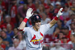 St. Louis Cardinals' Tommy Edman celebrates after hitting a grand slam off Cincinnati Reds relief pitcher Robert Stephenson during the sixth inning of a baseball game Thursday, July 18, 2019, in Cincinnati. (AP Photo/John Minchillo)