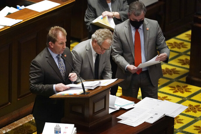 Rep. William Lamberth, R-Portland, left, introduces a bill during a special session on education Thursday, Jan. 21, 2021, in Nashville, Tenn. (AP Photo/Mark Humphrey)
