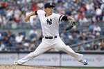 New York Yankees pitcher Masahiro Tanaka delivers during the second inning of a baseball game against the Texas Rangers, Monday, Sept. 2, 2019, in New York. (AP Photo/Adam Hunger)