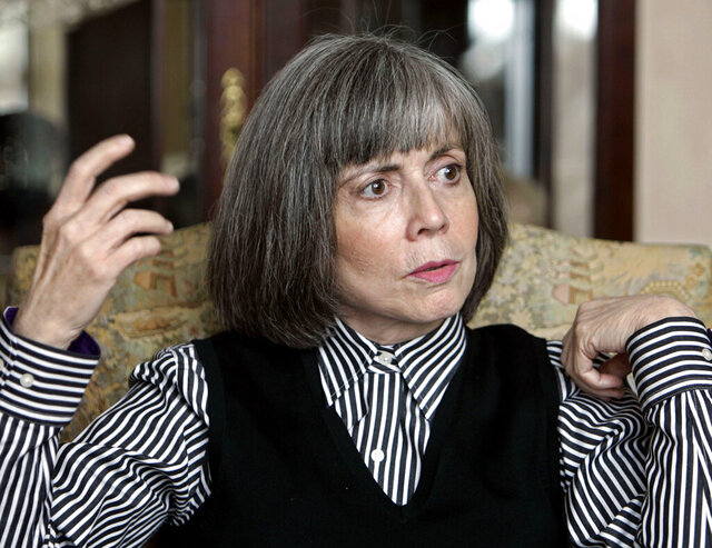 """FILE - In this Oct. 26, 2005 file photo, author Anne Rice talks about her new book during an interview at her home in La Jolla, Calif. Tulane University has acquired the complete archives of famed author, Anne Rice, who was born and raised in New Orleans and whose books including """"Interview with a Vampire,"""