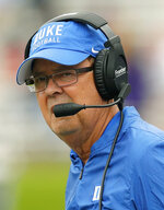 Duke's head coach David Cutcliffe looks on during an NCAA college football game against Northwestern Saturday, Sept. 8, 2018, in Evanston, Ill. (AP Photo/Jim Young)