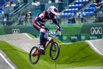 Alise Willoughby of the United States competes in the women's BMX Racing quarterfinals at the 2020 Summer Olympics, Thursday, July 29, 2021, in Tokyo, Japan. (AP Photo/Ben Curtis)