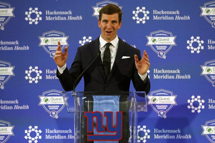 New York Giants NFL football quarterback Eli Manning announces his retirement on Friday, Jan. 24, 2020, in East Rutherford, N.J. (AP Photo/Adam Hunger)
