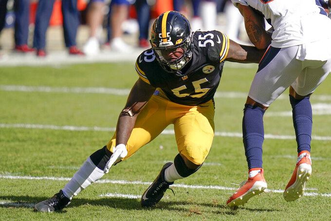 File-This Sept. 20, 2020, file photo shows Pittsburgh Steelers linebacker Devin Bush (55) playing against the Denver Broncos during an NFL football game, in Pittsburgh. Bush says his reconstructed knee will be ready for minicamp. The inside linebacker's rookie season was cut short in 2020 when he went down Oct. 18 against the Browns. (AP Photo/Keith Srakocic, File)