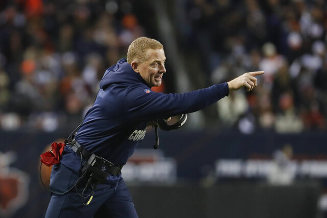 Dallas Cowboys head coach Jason Garrett shouts during the first half of an NFL football game against the Chicago Bears, Thursday, Dec. 5, 2019, in Chicago. (AP Photo/Morry Gash)
