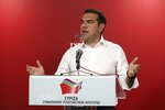 Greece's Prime Minister Alexis Tsipras makes statements at the Syriza party headquarters in Athens on Sunday, May 26, 2019. New Democracy leader Kyriakos Mitsotakis, the protected winner of Sunday's European election, has just called on Prime Minister Alexis Tsipras to resign.(AP Photo/Yorgos Karahalis)
