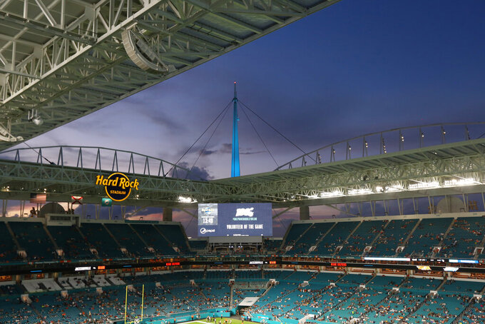 A general overview of Hard Rock Stadium prior to an NFL preseason game between the Jacksonville Jaguars and the Miami Dolphins, Thursday, Aug. 22, 2019, in Miami Gardens, Fla. (Margaret Bowles via AP)