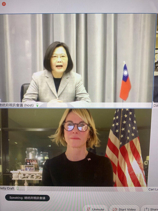 "In this image made from a video screen shows Taiwan's President Tsai Ing-wen, top, and U.S. Ambassador to the United Nations Kelly Craft meeting virtually on Wednesday night, Jan. 13, 2021. Craft's trip to Taiwan was canceled but Craft told Tsai: ""The United States will always stand with Taiwan."" (The United States Mission to the United Nations via AP)"