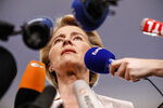 Germany's Ursula von der Leyen answers reporters at the European Parliament in Strasbourg, eastern France, Wednesday July 3, 2019. On Tuesday, EU leaders nominated Germany's Ursula von der Leyen to become president of the executive Commission. (AP Photo/Jean-Francois Badias)