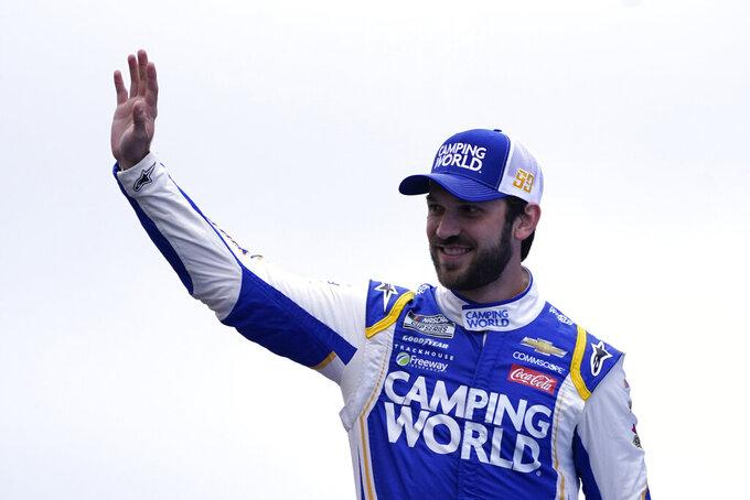Daniel Suarez at a NASCAR Cup Series auto race, Sunday, July 18, 2021, in Loudon, N.H. (AP Photo/Charles Krupa)