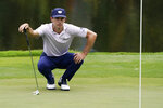 Billy Horschel lines up a putt on the 15th hole during the second round of the Wyndham Championship golf tournament at Sedgefield Country Club on Friday, Aug. 14, 2020, in Greensboro, N.C. (AP Photo/Chris Carlson)
