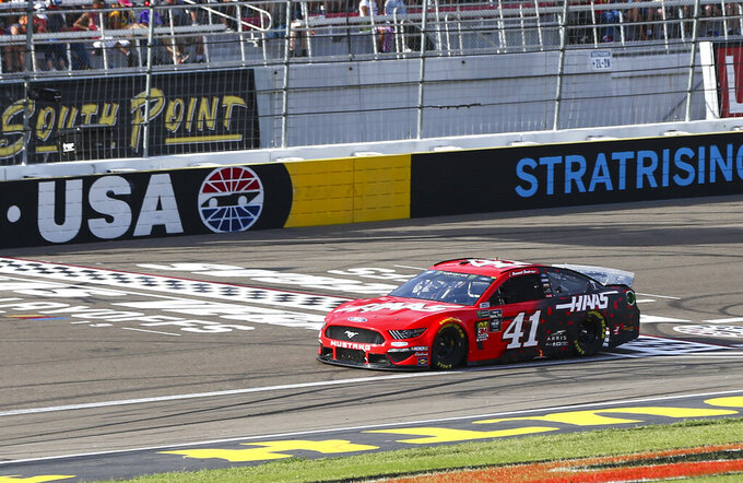 Daniel Suarez (41) drives during a NASCAR Cup Series auto race at Las Vegas Motor Speedway, Sunday, Sept. 15, 2019. (AP Photo/Chase Stevens)