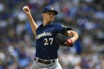 Milwaukee Brewers starter Zach Davies delivers a pitch during the first inning of a baseball game against the Chicago Cubs, Saturday, Aug 31, 2019, in Chicago. (AP Photo/Paul Beaty)
