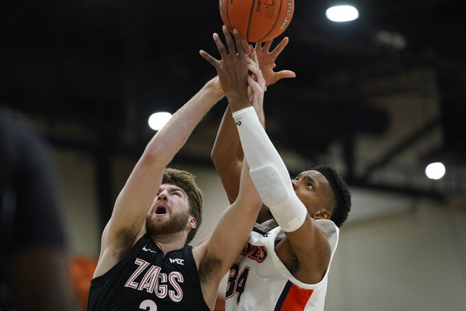 Gonzaga forward Drew Timme, left, and Pepperdine center Victor Ohia Obioha (34) reach for a rebound during the first half of an NCAA college basketball game Saturday, Jan. 30, 2021, in Malibu, Calif. (AP Photo/Ashley Landis)