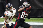 Atlanta Falcons wide receiver Russell Gage (83) makes the catch against Chicago Bears cornerback Buster Skrine (24) during the first half of an NFL football game, Sunday, Sept. 27, 2020, in Atlanta. (AP Photo/Brynn Anderson)