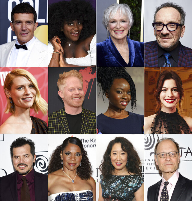 "This combination photo shows, top row from left, Antonio Banderas, Danielle Brooks, Glenn Close and Elvis Costello, second row from left, Claire Danes, Jesse Tyler Ferguson, Danai Gurira and Anne Hathaway, third row from left, John Leguizamo, Audra McDonald, Sandra Oh and David Hyde Pierce, who are among the stars expected to attend the June 1 virtual event, called ""We Are One Public,"" a benefit for New York City's fabled Public Theater. (AP Photo)"