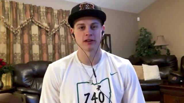 CORRECTS LOCATION TO THE PLAINS, OHIO, INSTEAD OF ATHENS, OHIO - In this still image from video provided by the NFL, LSU quarterback Joe Burrow appears in The Plains, Ohio, during the NFL football draft Thursday, April 23, 2020. (NFL via AP)