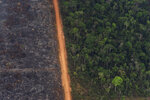 FILE - In this Aug. 27, 2019, file photo, a lush forest sits next to a field of charred trees in Vila Nova Samuel, Brazil. The fires that swept parts of the Amazon this year added to global worries about a warming climate, as well as the sense of urgency at the Climate Action Summit at the United Nations. (AP Photo/Victor R. Caivano, File)